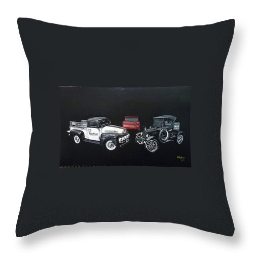 Trucks Throw Pillow featuring the painting Snap-on Ford Trucks by Richard Le Page