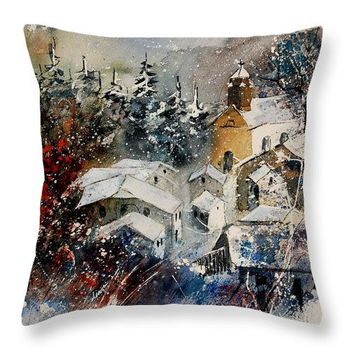 Landscape Throw Pillow featuring the painting Snon In Frahan by Pol Ledent