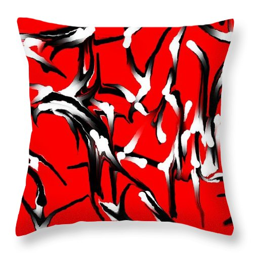Abstract Throw Pillow featuring the digital art Snoopys Dance by David Lane
