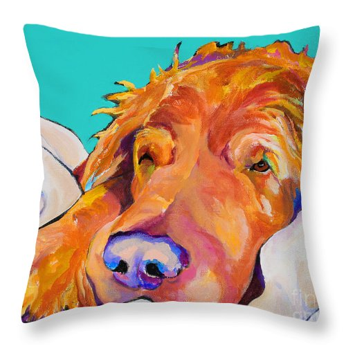 Dog Poortraits Throw Pillow featuring the painting Snoozer King by Pat Saunders-White