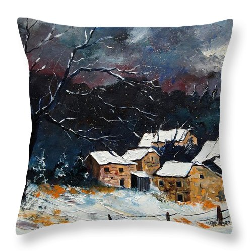 Snow Throw Pillow featuring the painting Snow 57 by Pol Ledent