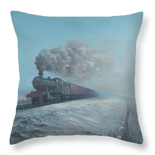 Snow Throw Pillow featuring the painting Snow and Steam by Richard Picton