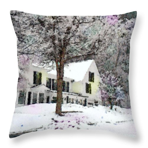 Old New England Home Throw Pillow featuring the photograph Snow Bound by Rose Guay