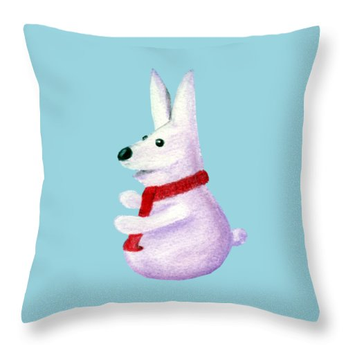 Snow Throw Pillow featuring the painting Snow Bunny by Anastasiya Malakhova
