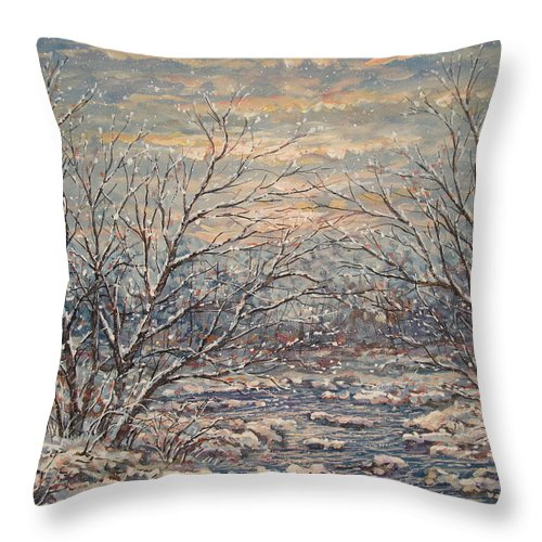 Landscape Throw Pillow featuring the painting Snow By Brook. by Leonard Holland