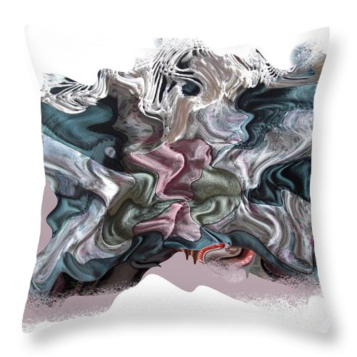 Abstract Throw Pillow featuring the digital art Snow Capped Cloth by Ron Bissett