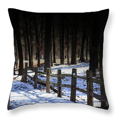 Snow Throw Pillow featuring the digital art Snow Covered Bridge by Kim Henderson