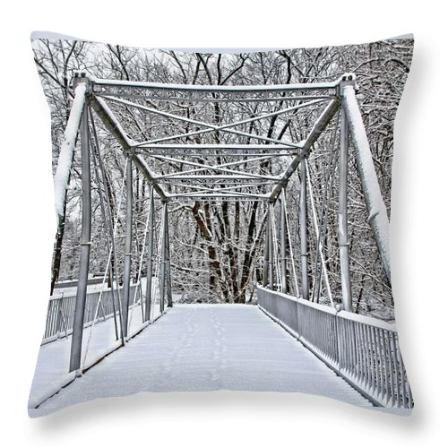 Historic Throw Pillow featuring the photograph Snow Covered Pony Bridge by DJ Florek