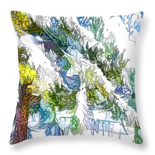 Snow Throw Pillow featuring the painting Snow-covered Tree Branch 3 by Jeelan Clark