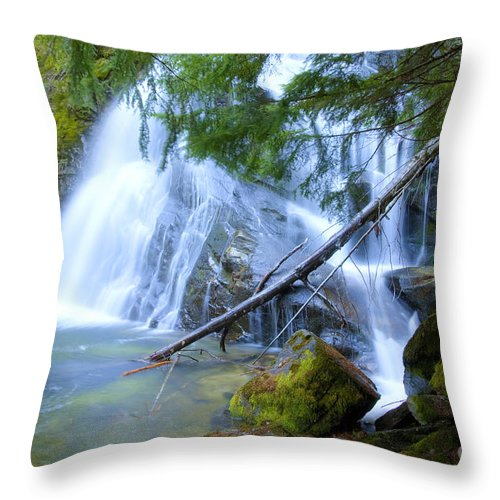 snow Creek Throw Pillow featuring the photograph Snow Creek Falls by Idaho Scenic Images Linda Lantzy