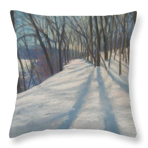 Mcgrath Throw Pillow featuring the painting Snow Day At Winnekini by Leslie Alfred McGrath