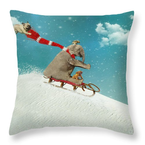 Snow Throw Pillow featuring the digital art Snow Day by Laura Munro