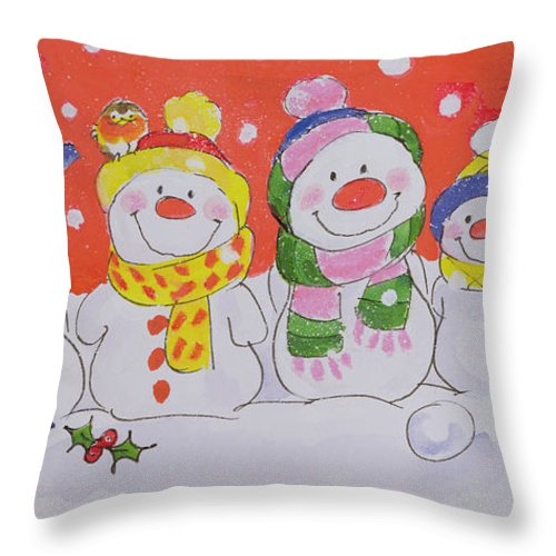 Snow Family (w/c And Ink On Paper) By Diane Matthes (contemporary Artist) Throw Pillow featuring the painting Snow Family by Diane Matthes