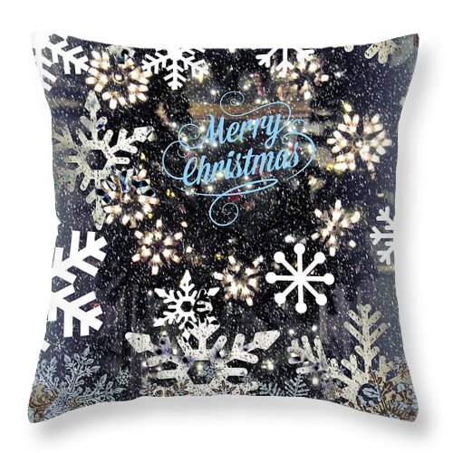 Holiday Card Throw Pillow featuring the digital art Snow Flakery Wreath 1 by Blake Baines