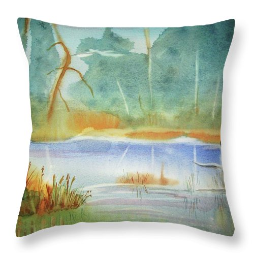 Goose Throw Pillow featuring the painting Snow Goose Landing by Ellen Levinson