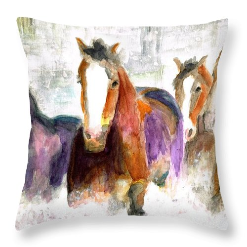 Horses Throw Pillow featuring the painting Snow Horses by Frances Marino