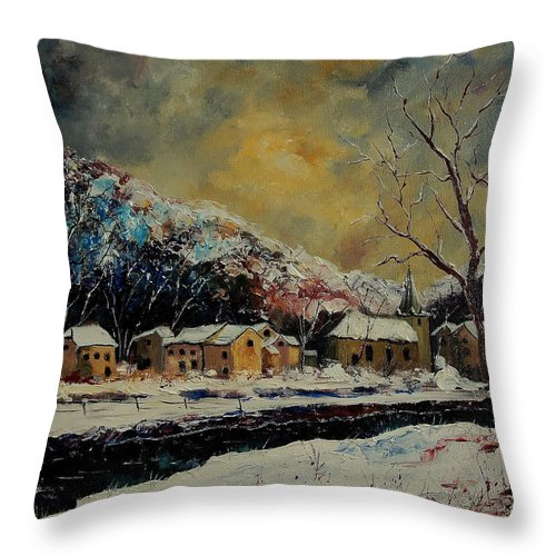 Winter Throw Pillow featuring the painting Snow In Bohan by Pol Ledent