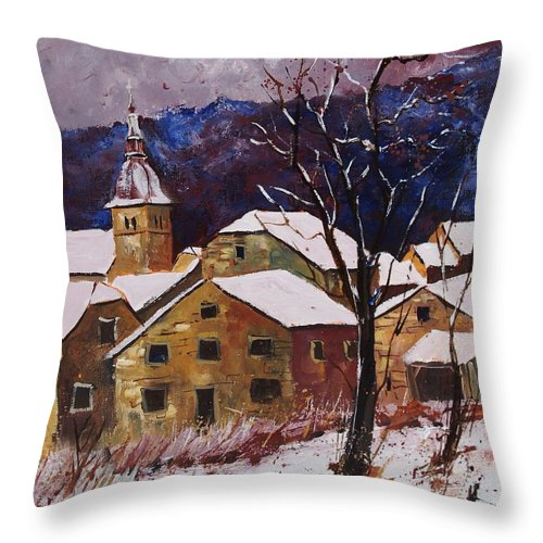 Landscape Throw Pillow featuring the painting Snow In Chassepierre by Pol Ledent