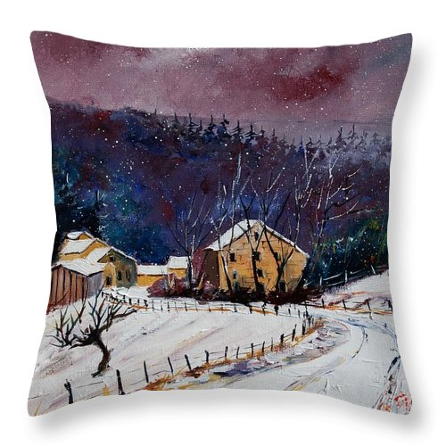 Landscape Throw Pillow featuring the painting Snow In Sechery by Pol Ledent