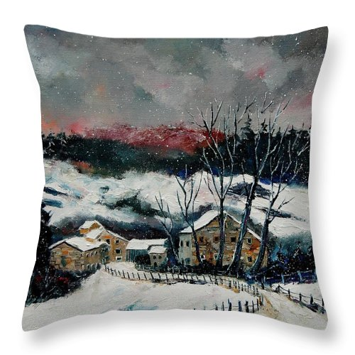 Winter Throw Pillow featuring the painting Snow In Sechery Redu by Pol Ledent