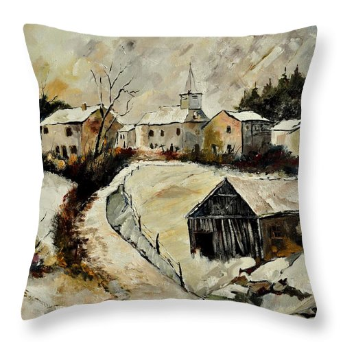 Snow Throw Pillow featuring the painting Snow In Sensenruth by Pol Ledent