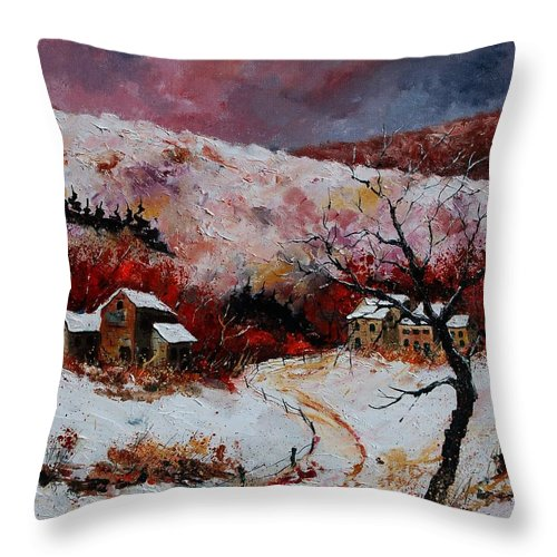 Snow Throw Pillow featuring the painting Snow In The Ardennes 78 by Pol Ledent