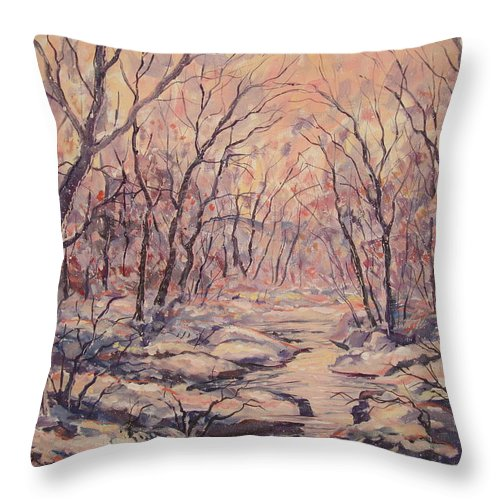 Landscape Throw Pillow featuring the painting Snow In The Woods. by Leonard Holland
