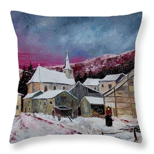 Snow Throw Pillow featuring the painting Snow Is Falling by Pol Ledent