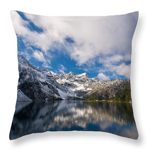 Snow Lake Throw Pillow featuring the photograph Snow Lake Vista by Mike Reid