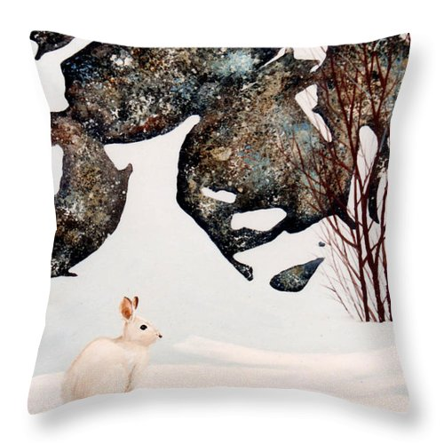 Wildlife Throw Pillow featuring the painting Snow Ledges Rabbit by Frank Wilson