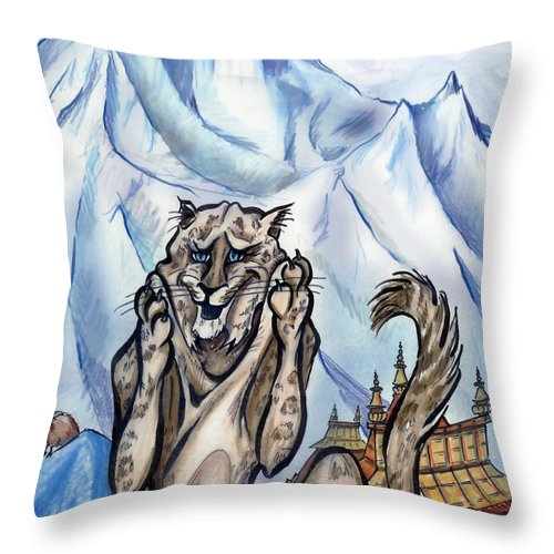 Ice Throw Pillow featuring the painting Snow Leopard by Kevin Middleton