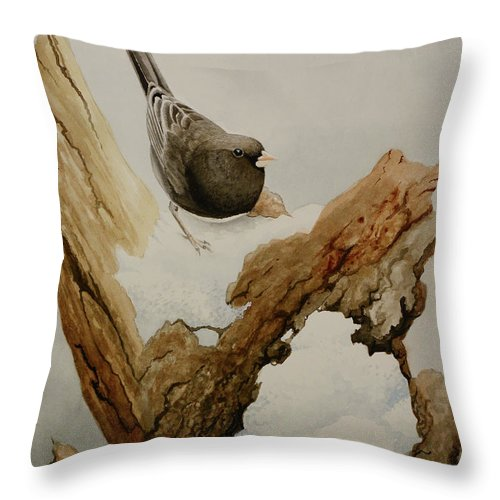 Junco Throw Pillow featuring the painting Dark-eyed Junco by Charles Owens