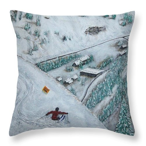 Ski Throw Pillow featuring the painting Snowbird Steeps by Michael Cuozzo