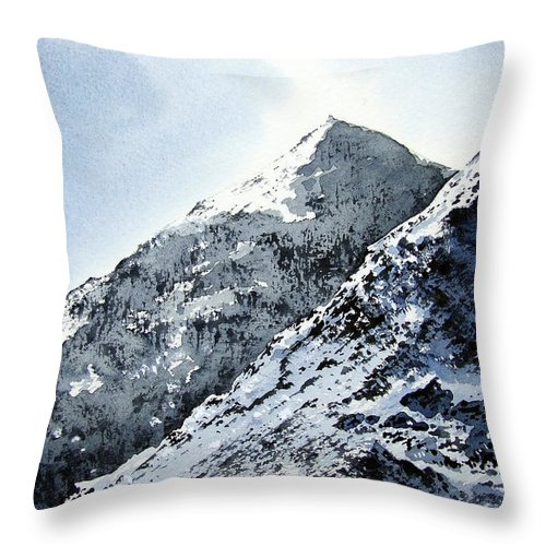 Snowdon Throw Pillow featuring the painting Snowdon by Paul Dene Marlor