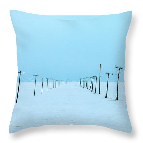 Road Throw Pillow featuring the photograph Snowed In by Todd Klassy