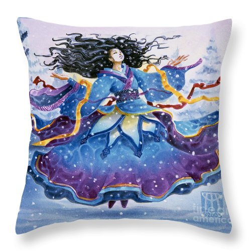 Snow Throw Pillow featuring the painting Snowfall by Melissa A Benson