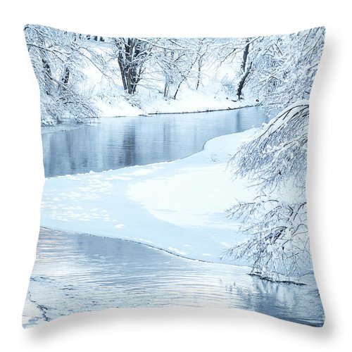 West Virginia Throw Pillow featuring the photograph Snowfall On Gauley by Thomas R Fletcher