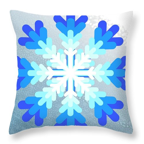 Snowflake Throw Pillow featuring the digital art Snowflake Pile 2 by Blake Baines