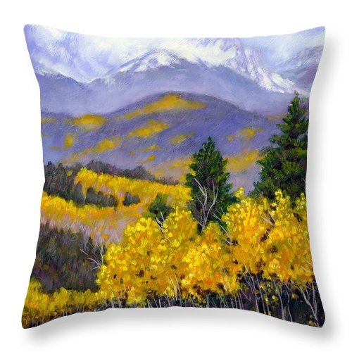 Rocky Mountains Throw Pillow featuring the painting Snowing In The Mountains by John Lautermilch