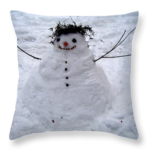 Snowman Throw Pillow featuring the photograph Snowman by Angelina Marino