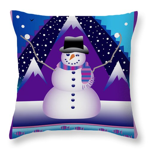 Card Throw Pillow featuring the digital art Snowman Juggler by Nancy Griswold