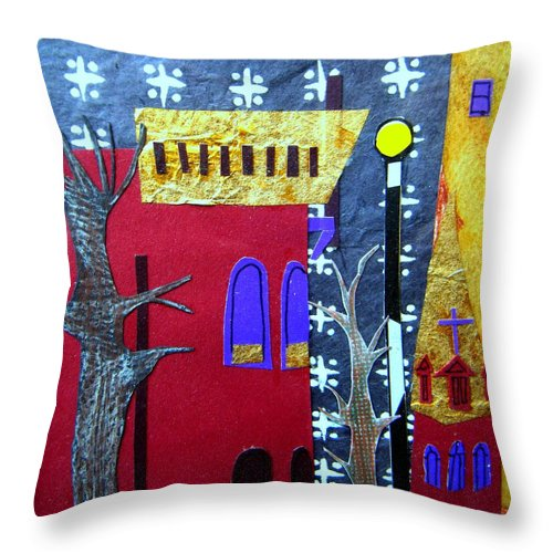 City Throw Pillow featuring the mixed media Snowstorm Backbay by Debra Bretton Robinson