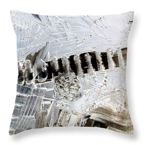 Snow Throw Pillow featuring the painting Snow...the Day After by Dawn Hough Sebaugh