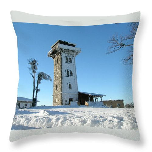 Cerchov Throw Pillow featuring the photograph Snowy Cerchov by Pavel Feierfeil