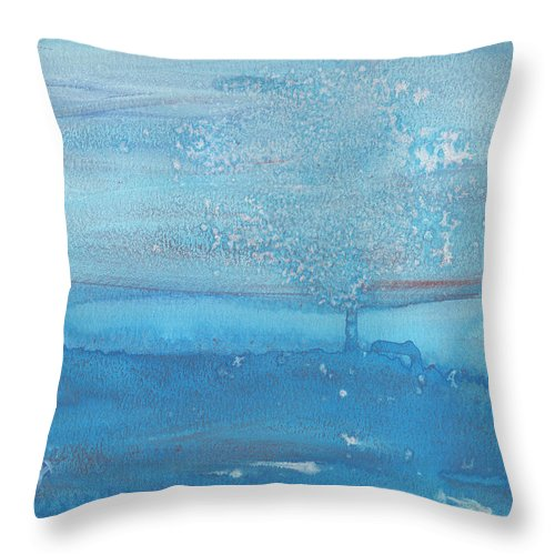 Lonely Cold Snow Night Tree Missing Love Scream Frozen Sad Scare Blue Water Color Watercolor Painting Snowy Winter Throw Pillow featuring the painting The Lonely Tree by Rula Bashi