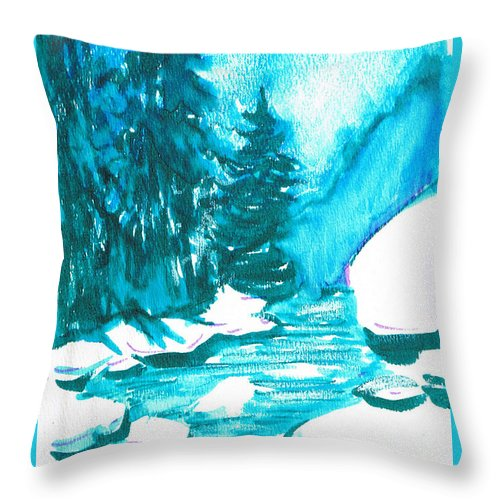 Chilling Throw Pillow featuring the mixed media Snowy Creek Banks by Seth Weaver