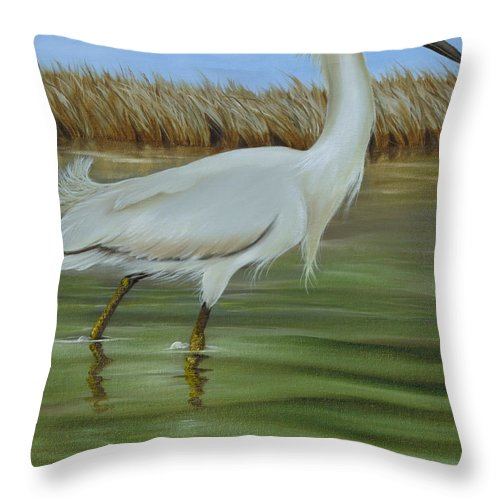 Birds Throw Pillow featuring the painting Snowy Egret 1 by Phyllis Beiser