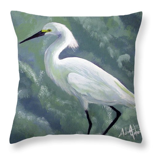 Egret Throw Pillow featuring the painting Snowy Egret In Water by Adam Johnson