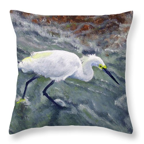 Egret Throw Pillow featuring the painting Snowy Egret Near Jetty Rock by Adam Johnson