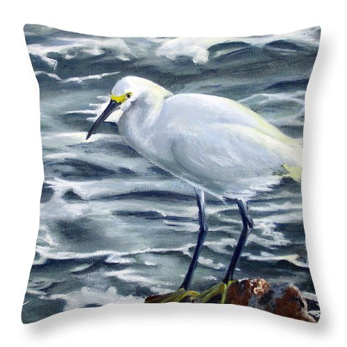 Egret Throw Pillow featuring the painting Snowy Egret On Jetty Rock by Adam Johnson